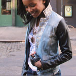 Studded Denim Jacket with Leather Sleeves Gallery Thumbnail