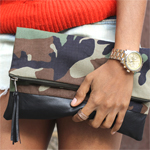 Camo and Leather Foldover Clutch with Tassel Gallery Thumbnail
