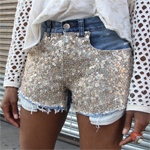 Sequin Encrusted Denim Shorts Gallery Thumbnail