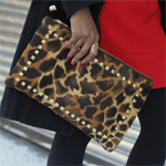 Faux Calf Hair Leopard Studded Clutch Gallery Thumbnail