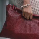 Wine Leather Alligator Clutch Gallery Thumbnail