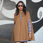 Cape, striped dress, red boots Gallery Thumbnail 2